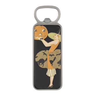 Art Deco Witch Jack O Lantern Pumpkin Black Cat Magnetic Bottle Opener