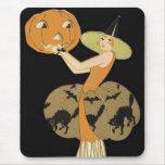 Art Deco Witch Jack O Lantern Pumpkin Black Cat Mouse Pad