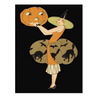 Art Deco Witch Jack O Lantern Pumpkin Black Cat Postcard