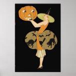 Art Deco Witch Jack O Lantern Pumpkin Black Cat Poster