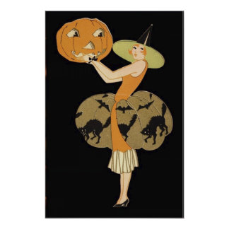 Art Deco Witch Jack O Lantern Pumpkin Black Cat Poster
