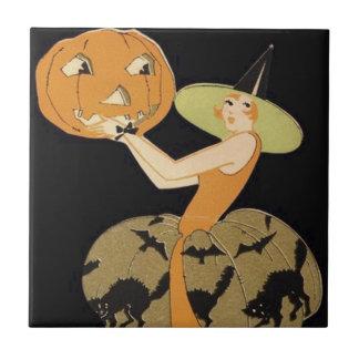 Art Deco Witch Jack O Lantern Pumpkin Black Cat Tiles