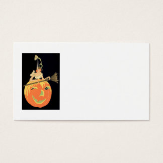 Art Deco Witch Jack O Lantern Pumpkin Broom Business Card