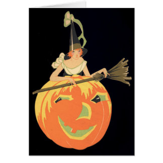 Art Deco Witch Jack O Lantern Pumpkin Broom Card