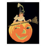 Art Deco Witch Jack O Lantern Pumpkin Broom Card
