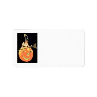 Art Deco Witch Jack O Lantern Pumpkin Broom Label