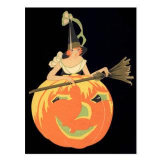 Art Deco Witch Jack O Lantern Pumpkin Broom Postcard