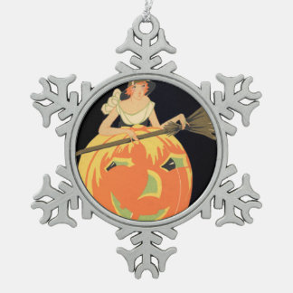 Art Deco Witch Jack O Lantern Pumpkin Broom Snowflake Pewter Christmas Ornament