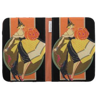 Art Deco Witch Jack O Lantern Pumpkin Kindle Cases