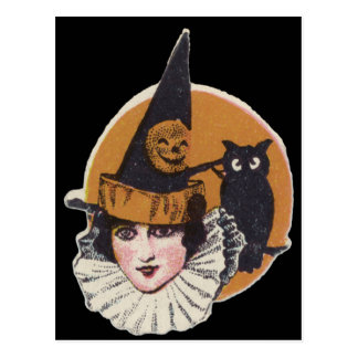 Art Deco Witch Jack O Lantern Pumpkin Owl Postcard