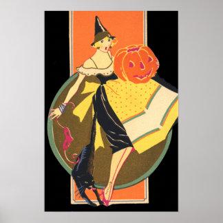Art Deco Witch Jack O Lantern Pumpkin Poster