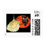 Art Deco Witch Owl Full Moon Postage
