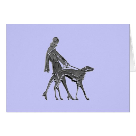 Art Deco Woman and Dog Card