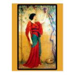 Art Deco Woman and Grapes Postcard