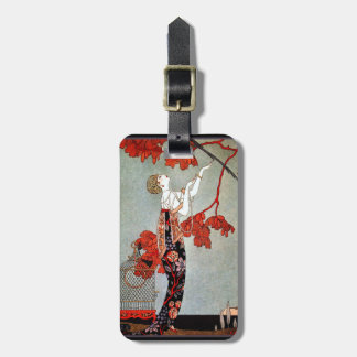 Art Deco Woman and the Parrot Bag Tag