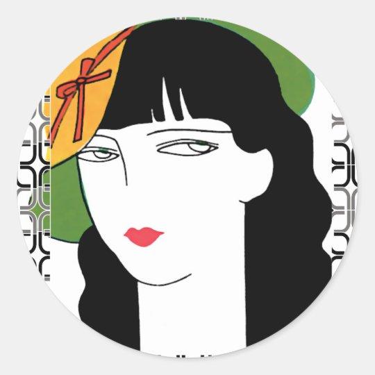 Art Deco Woman In Hat Classic Round Sticker