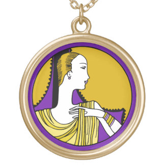 Art Deco Woman in Purple and Gold Gold Plated Necklace