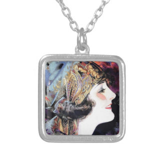 Art Deco Woman in Scarf Silver Plated Necklace