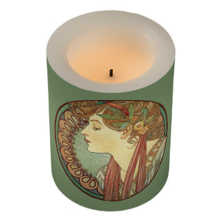 Art Deco Woman on Mosaics Leaves Ribbon in Hair Flameless Candle