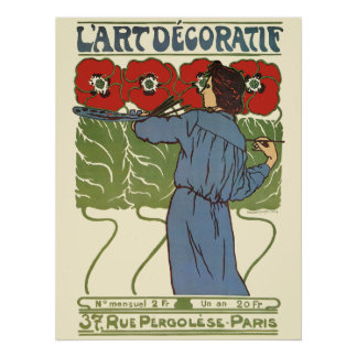 Art Deco Woman Painting Poppies Poster