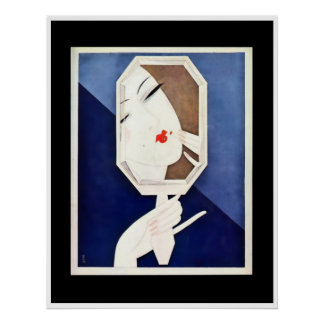 Art Deco Woman with Mirror by Eduardo Benito Poster