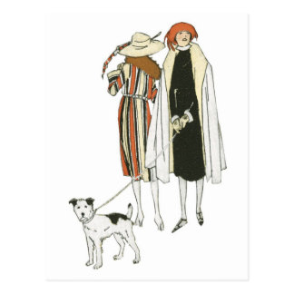 Art Deco Women Walking Dog Postcards