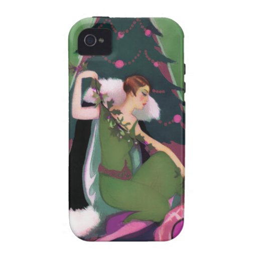 Art Deco Xmas, Pascaline in Olive, Rose and Green Case-Mate iPhone 4 Case