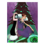 Art Deco Xmas, Pascaline in Purple, Teal and Brown Postcard