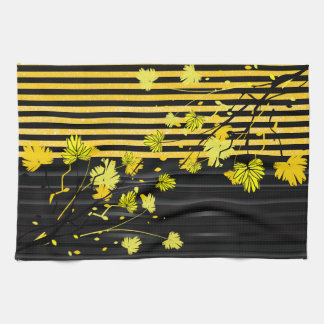Art Deco Yellow and Black Floral Hand Towel