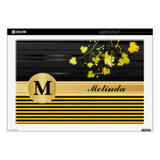 "Art Deco Yellow and Black Floral Skin For 17"" Laptop"