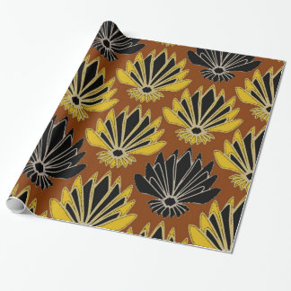 ART DECO YELLOW BLACK COFFEE BROWN AGAVE WRAPPING PAPER