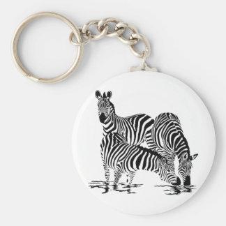 Art Deco  Zebra Basic Round Button Keychain