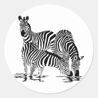 Art Deco  Zebra Classic Round Sticker