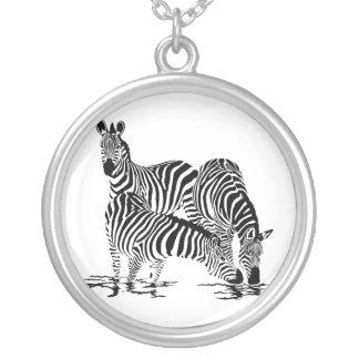 Art Deco  Zebra Round Pendant Necklace