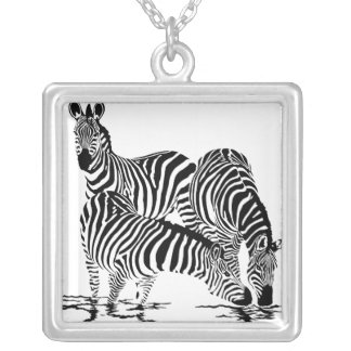 Art Deco  Zebra Square Pendant Necklace