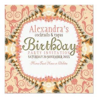 Art Decor & Lace Birthday Cocktail Party Invitatio Personalized Announcements