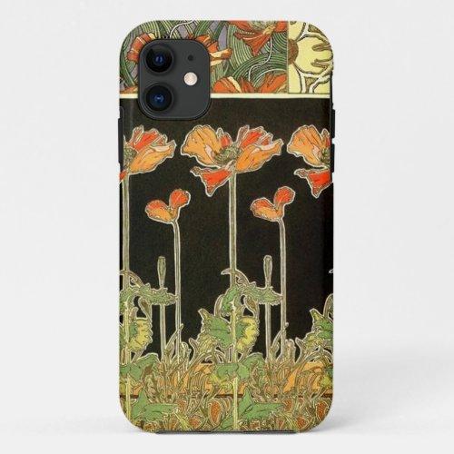 Art décoratifs (orange flowers) by Alphonse Mucha Phone Case