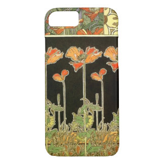 Art décoratifs (orange flowers) by Alphonse Mucha iPhone 7 Case