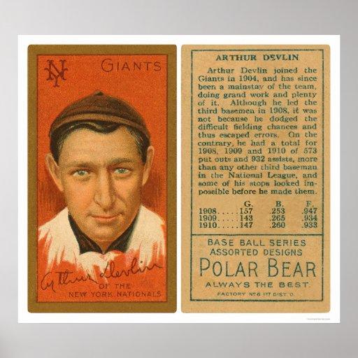 Art Devlin Giants Baseball 1911 Posters