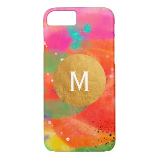 Art Digital Watercolor Painting Gold Monogram