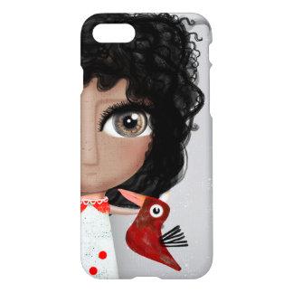 ART DOLL HUGE EYES DRESS RED BIRD iPhone 8/7 CASE
