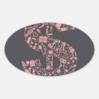 Art dollar oval sticker