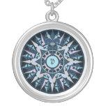 Art drawing, antique compass rose, add monogram round pendant necklace