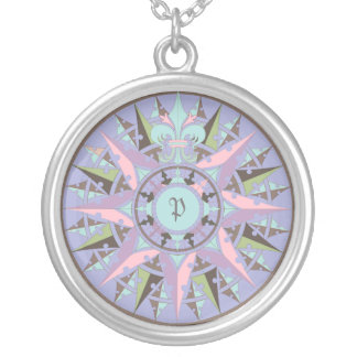 Art drawing, antique compass rose, add monogram silver plated necklace