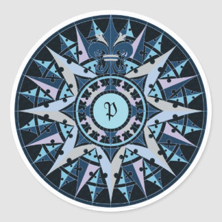 Art drawing, antique compass rose, add monogram stickers