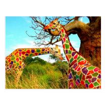 Art Enhanced Giraffes Postcard