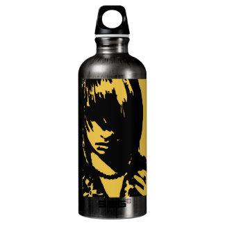 Art face upclose yellow aluminum water bottle
