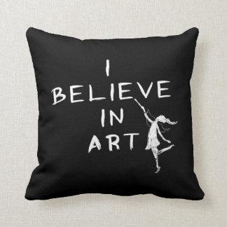 Art Fairy: I Believe In Art (Black) Throw Pillow