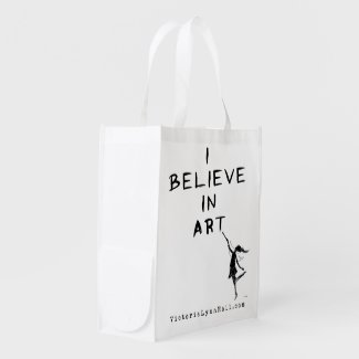 Art Fairy: I Believe In Art Promotional Value Grocery Bags