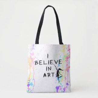Art Fairy: I Believe In Art Watercolor Run Tote Bag